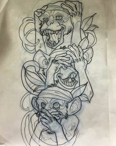 49 Monkey And Gorilla Pencil Drawing Ideas - Art Tattoo Design Drawings, Tattoo Sketches, Tattoo Designs, Dibujos Tattoo, Desenho Tattoo, Dark Art Drawings, Pencil Drawings, Body Art Tattoos, Tatoo
