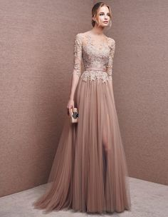 Elegant prom dress long prom dress lace prom dress long sleeve prom dress a line prom dress evening dress charming affordable prom dress 15250 from Athenabridal Long Prom Gowns, Long Bridesmaid Dresses, Formal Evening Dresses, Elegant Dresses, Pretty Dresses, Evening Gowns, Beautiful Dresses, Dress Long, Evening Party