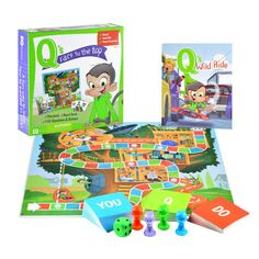 """Meet Q, the genius monkey with A LOT to learn about life. In the board game """"Q's Race to the Top,"""" children can help Q race to the top of his tree house by answering questions and performing fun actio"""