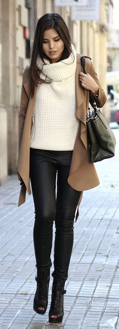 Cream Oversized Cable Knit Turtleneck by Fake Leather