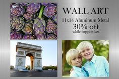 Starting Monday March 14th, 2016 our 11x14 metal wall art will be 30% off! No coupon code is necessary! These metal panels look amazing and do especially well with vibrant, colourful photos. This sale is while supplies last, so get it while you can March 14th, Metal Panels, Aluminum Metal, Metal Wall Art, Coupon, Vibrant, Photo Wall, Amazing, Photos