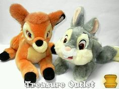 Disney Store Set Of 2 Stuffed Plush Bambi Deer And Thumper Bunny Rabbit
