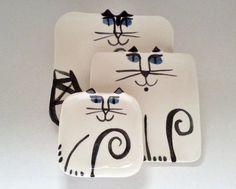 Ceramic Cat Plate stacking set 3 whimsical porcelain plate nesting happy gift for kitty lover, feline theme designer pet resort pet decor