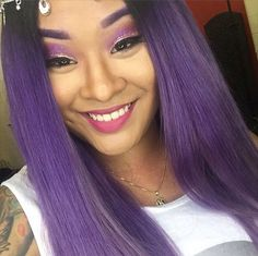 This beautiful lady got her amethyst hair color from the talented @touchedbytim. After bleaching her hair, he added our Virgin Snow toner for the perfect white base. He then mixed a few drops of UltraViolet into our Pastelizer and applied all over. Just as lovely as her tresses is her sparkly eye makeup. Use our Love Colors eye shadow in Mystic Heather and our Glam Dust in Angel Dust to get the whole look.