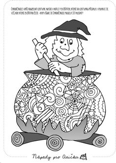 Pracovní list v pdf ke stažení Theme Halloween, Halloween Crafts For Kids, Halloween Activities, Happy Halloween, Halloween Coloring Pictures, Halloween Pictures, Adult Coloring Pages, Coloring Books, Colouring
