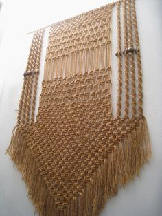 Reserved for Michelle - 1970's Jute Vintage Macrame Wall Hanging
