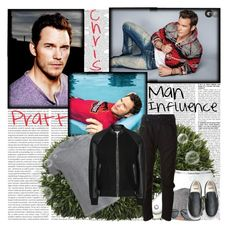"""""""Chris Pratt - Man Influence - Sunday5"""" by fashionaddict-il ❤ liked on Polyvore featuring Pomax, Calvin Klein, Barts, Hermès, Tod's, Vans, Belstaff and Diesel"""