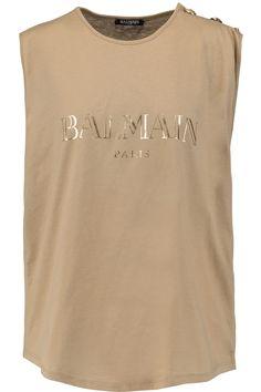 BALMAIN Printed Cotton-Jersey Top. #balmain #cloth #top