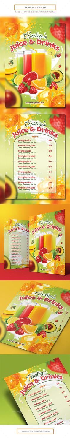 Juice Bar Menu Template Menu templates, Juice and Menu - drinks menu template