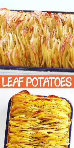 Crispy Leaf Potatoes - the BEST roasted potatoes you'll ever make! Crazy delicious sliced potatoes that taste like layers of potato chips. Make this for holidays or every day! Potato Side Dishes, Veggie Dishes, Vegetable Recipes, Roasted Potatoes, Sliced Potatoes, Amazing Food Videos, Cooking Recipes, Healthy Recipes, Side Dish Recipes
