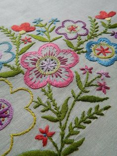 Gorgeous hand embroidered Irish linen cushion cover - striking florals