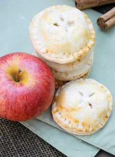 Sounds great for school or pot luck events  4-Bite Apple Pies a.k.a. Apple Pie Cookies  from thekitchenismyplayground.blogspot.com  #apple #pie