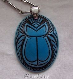 Emmons Turquoise Scarab Black Carved Necklace Chain Pendant Unusual Silverplated #Emmons #Chain