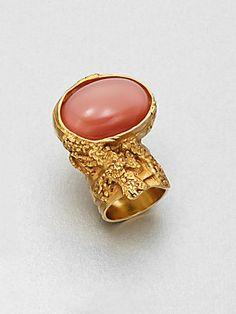 Yves Saint Laurent Goldtone Arty Ovale Ring $290.00