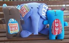 Cuddly T-shirt softies (Bailey Bear and Josephine the Elephant) made with patterns from Shiny Happy World