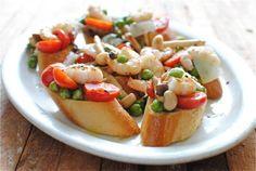 Bruschetta with Shrimp, Mushrooms and Green Garbanzo Beans