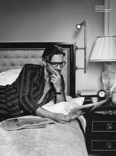"""Ben Hill: """"A Writer's Day"""" Photo by Alexia Silvabni Pajamas:Louis Vuitton /Glasses:Tom Ford /Watch:cartier"""
