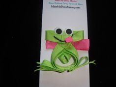 green frog on pink ribbon sculpture hair bow, hair clip, boutique   bowsandbling2 - Children's on ArtFire