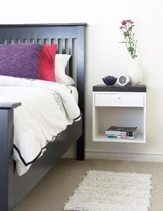 This diy shows you how to build yourself a wall-mounted nightstand for your small bedroom. How To Make A Small Bedroom Look Nice Bedroom Diy, Furniture For Small Spaces, Diy Nightstand, Furniture, Home Diy, Diy Furniture, Wall Mounted Bedside Table, Floating Nightstand, Small Apartment Room