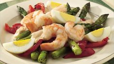 Let the delicate flavor of shrimp and tender-crisp asparagus shine through in a simple salad with lemon-mayonnaise dressing.