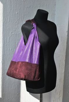 Purple leather tote bag Shopping bag Everyday bag by PichykDesing