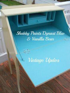 #vintage slant front desk in #ShabbyPaints Vanilla Bear and Dynasty Blue