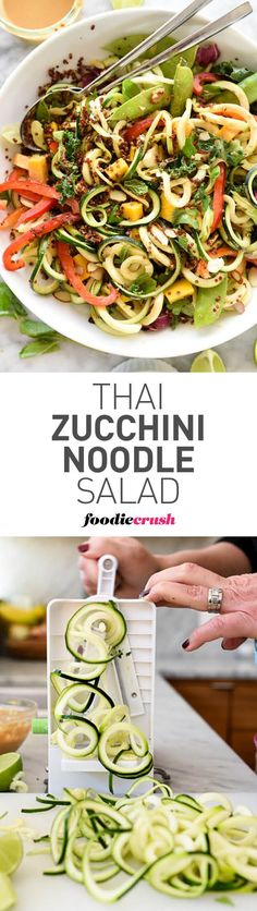 I'm obsessed with spiralized noodles. Zucchini is the base of this raw vegetable salad with a flavorful Thai peanut dressing that everyone loves. All clean eating ingredients are used for this healthy dinner recipe. Zoodle Recipes, Spiralizer Recipes, Veggie Recipes, Asian Recipes, Vegetarian Recipes, Healthy Recipes, Vegetable Spiralizer, Zucchini Noodles Salad, Veggie Noodles