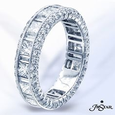 May your love be eternal with this eternity wedding band featuring princess, baguette and pavé diamonds