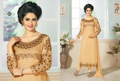 Skin shade georgette suit with heavy golden embroidery on it @ on Delivery at Rs 99 extra Skin Shades, Cheap Deals, Straight Cut, Shop Now, Fashion Accessories, Sari, Suits, Elegant, Best Deals