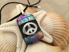 Peace Sign  Dichroic Fused Glass Jewelry  by RyanstonesFusedGlass