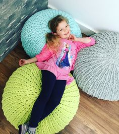This is a free crochet PDF pattern and video tutorial for a fun textured floor pouf!