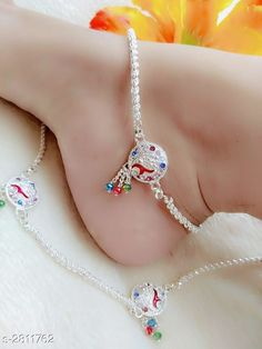 Beautiful Latest Designer Anklets by Trendy's Shop - Online shopping for Anklets & Toe Rings on MyShopPrime - -SKWGXA Payal Designs Silver, Silver Anklets Designs, Silver Payal, Anklet Designs, Nose Ring Jewelry, Ankle Jewelry, Jewelry Design Earrings, Gold Earrings Designs, Hand Jewelry