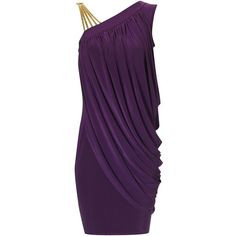 Purple Gold Strap Dress ($56) ❤ liked on Polyvore