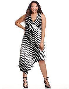 Asymmetric Plus size knit dress