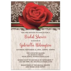Floral Bridal Shower invitations with a large red rose, a rich brown background with cream lace, and your rose bridal shower details printed in red and brown over a light rustic wood background. This illustration is elegant and beautiful, and the perfect invitation for the bride-to-be, for her Bridal Shower, Bridal Luncheon, or other celebration.