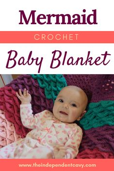 Try this free crochet pattern for a mermaid baby blanket! Mermaid Blanket Pattern, Mermaid Baby Blanket, Crochet Mermaid Blanket, Easy Baby Blanket, Baby Mermaid, Crochet Blanket Patterns, Baby Patterns, Crochet Blankets, Crochet Afghans
