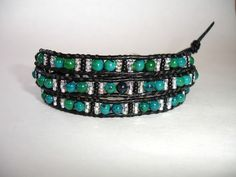 Leather Wrap Beaded Bracelet  3x  Black by LOVEwhatIdoDesigns