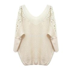 Lady V Neck Lace Patchwork Hollow Out Batwing Sleeve Sweater Knitwear Tops C99D | eBay