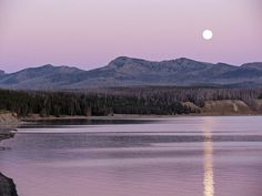 Landscape Photography  Moon over Yellowstone Lake  by NJSimages, $16.00