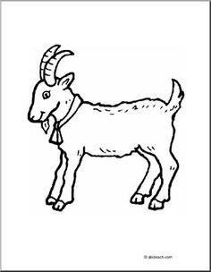Cool Collection of Goat Coloring Pages. Among the farm animals, goats are crucial, because with their milk they produce cheeses that can be enjoyed and even yog Farm Animal Coloring Pages, Coloring Pages To Print, Free Printable Coloring Pages, Coloring Pages For Kids, Coloring Books, Goat Picture, Animal Templates, Templates Free, Butterfly Coloring Page