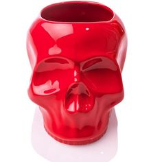 Sourpuss Clothing Skull Planter ($18) ❤ liked on Polyvore featuring home, outdoors, outdoor decor, skull planter and red planter