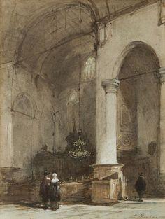 Interieur van de Grote Kerk te Maassluis, aquarel op papier 28,0 x 21,5 cm, gesigneerd r.o.