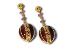 RUBY AND ENAMEL EARRINGS WITH GOLD ACCENTS FROM BALI.