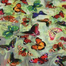 Úplet šedozelený, barevní motýlci, š.145