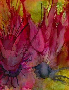 """experimental painting by monica moody  alcohol inks on 4"""" x 5.5"""" on gloss cover"""