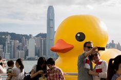 {look out for the giant rubber ducky behind you!} hehe. this guy never gets old. photo taken by Emily Jorpin in Kowloon, Hong Kong