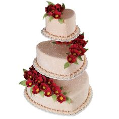 A bevy of red fantasy flowers beautify this romantic heart cake. Attractive tiers are gracefully displayed on the Hearts Floating Tiers Cake Stand and finished with White Pearl Beading.