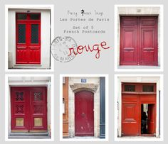 Postcard Set-Paris Doors in Red by Pretty French Things. Giveaway here: http://thoserootsandwings.blogspot.com/2012/08/pretty-french-things-giveaway.html
