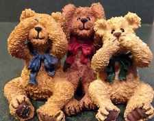 Rare Boyd's Bears Bearstone Collection...see no evil, hear no evil, and speak no evil.