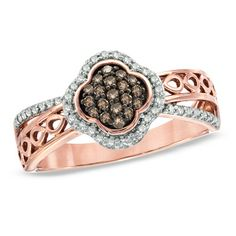 1/3 CT. T.W. Champagne and White Diamond Clover Ring in 10K Rose Gold  (Zales)